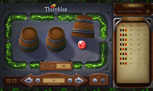 بازی توپ و لیوان Thimbles در سایت شرط بندی